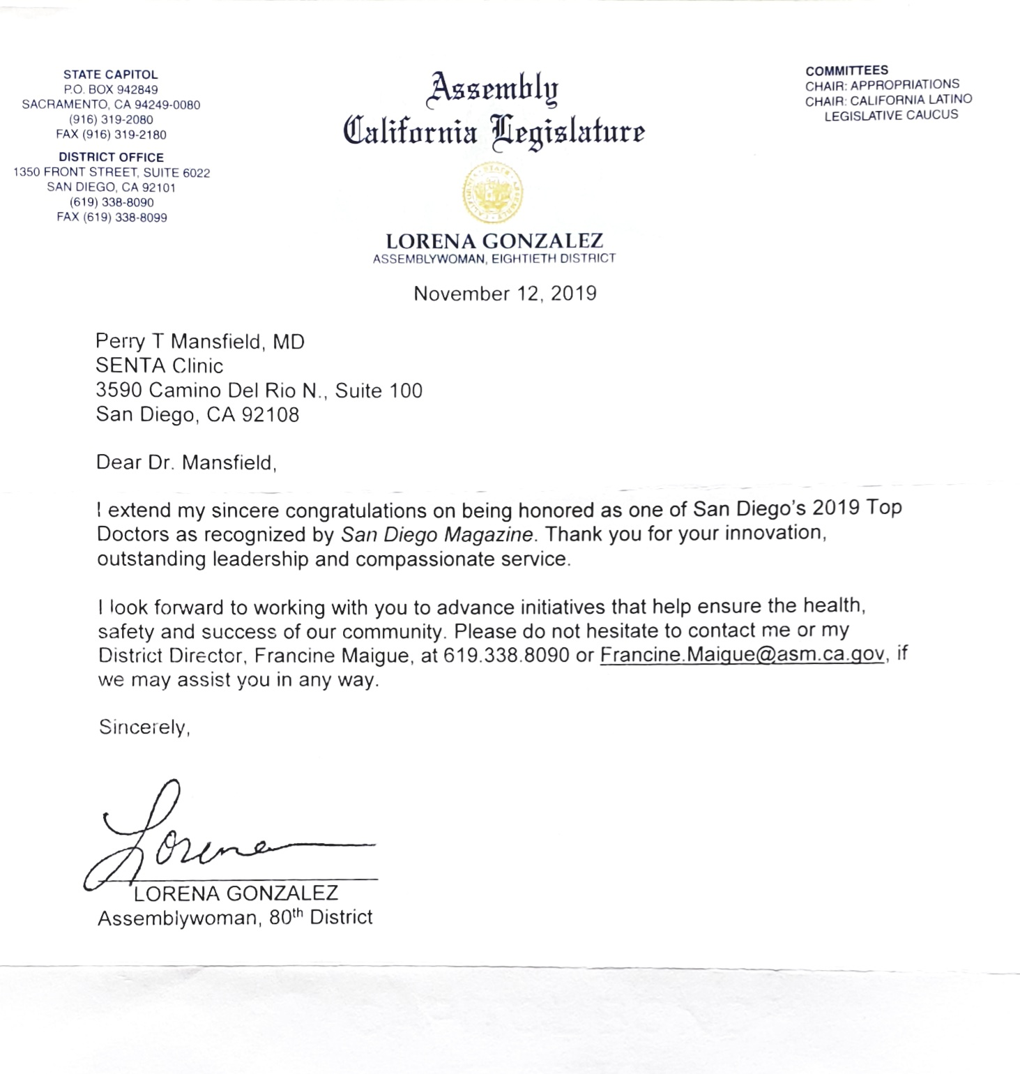 California Legislature Letter from Assemblywoman Lorena Gonzalez