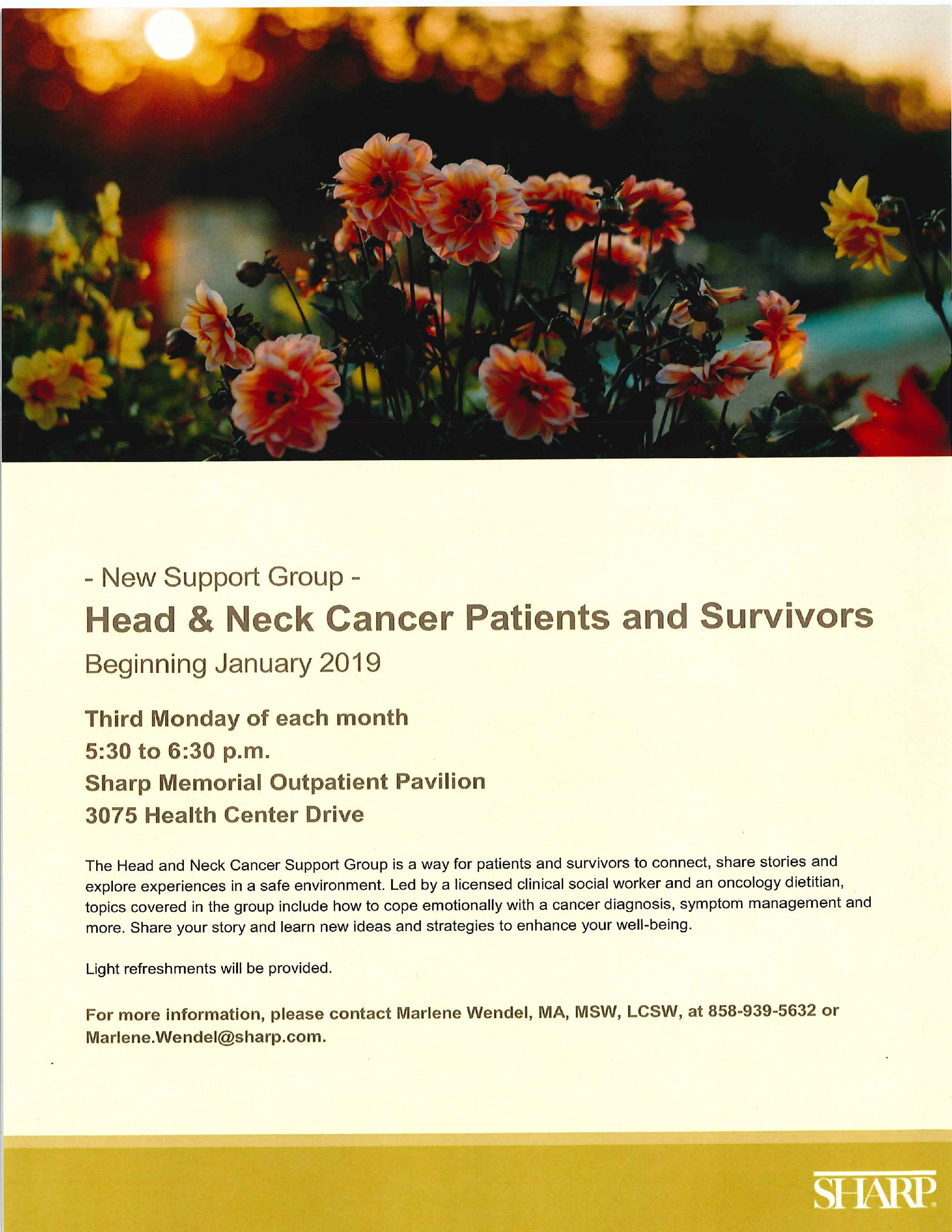Head and Neck Cancer Patients and Survivors Support Group
