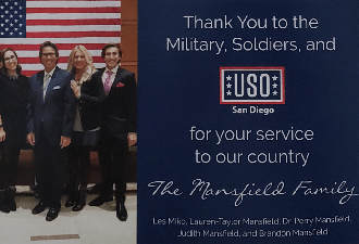 Dr Mansfield and Family Sponsors of the USO San Diego